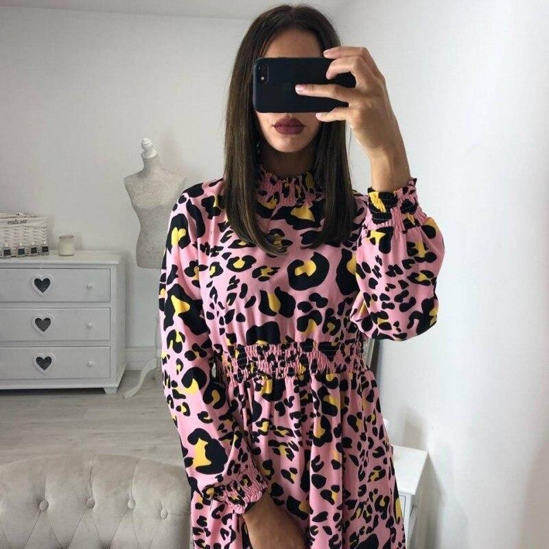 Mode 2019 Leopard Druck Elegante Vintage Polka Party Beforw Kleider PZiukX