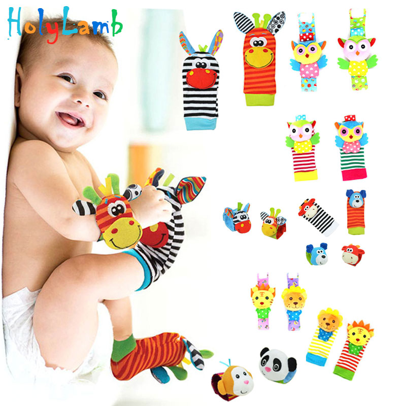 Christmas Gift Baby Toy Baby Rattles Toys Animal  0-12 Months Newborn Socks Wrist Strap With Rattle Baby Foot Socks Wrist Strap