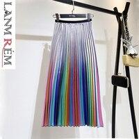 LANMREM2019 spring new Korean style high waist Mid Calf Color strip pleated bottom trend women summer Pleated skirt QG705