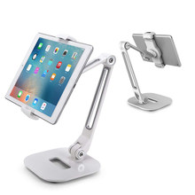 "Fits 4-11"" Display Desk Foldable Mount Holder Bedside Tablet Stand Aluminum 360 Swivel Long Arm Table For IPad For IPhone(China)"