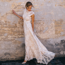 Vintage Lace Boho Wedding Dress A Line Cap Sleeves Sexy Backless Bridal Gown Vestidos De Novia 2019 wedding Gowns