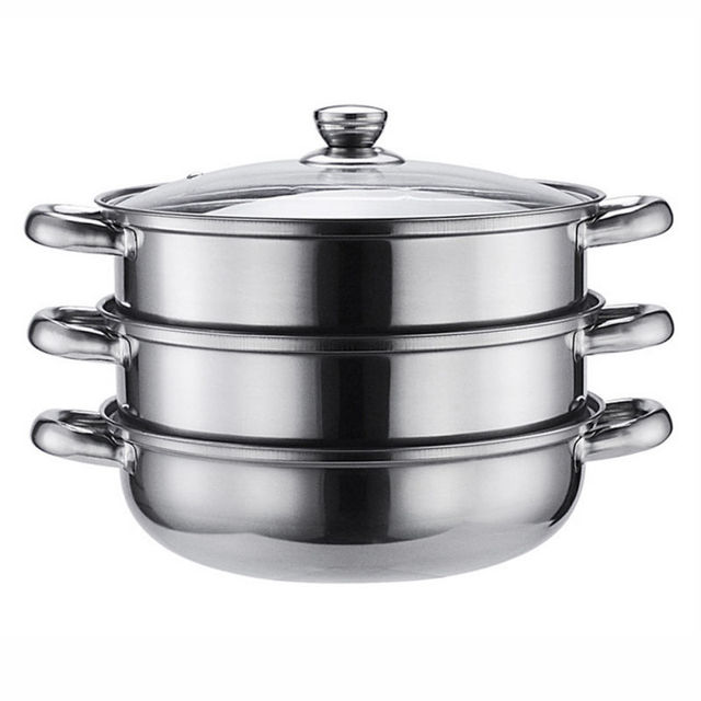 steamer kitchen how to refinish sink stainless steel 3 tier cookware food induction pot dim sum for home cooking tools