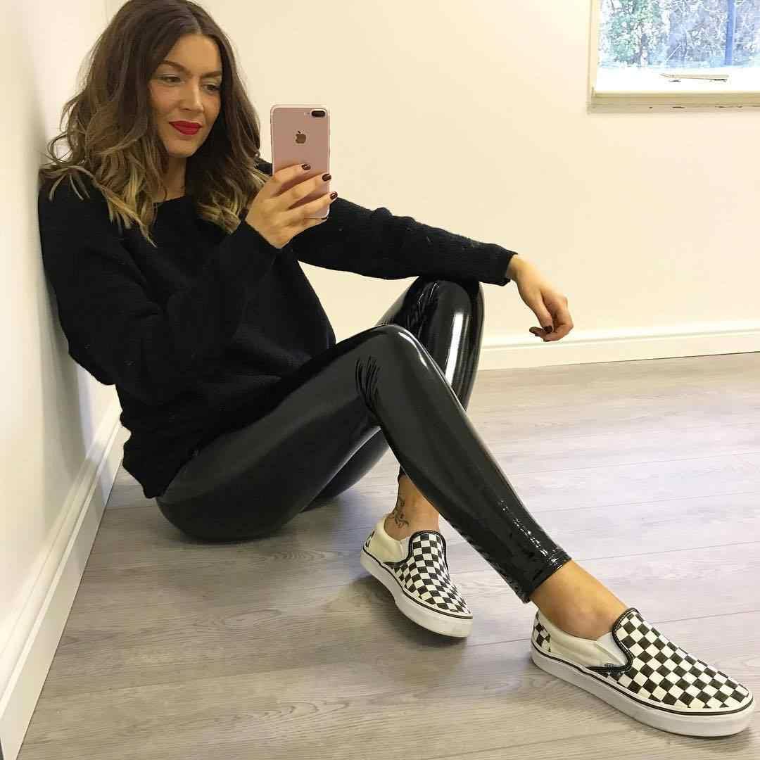 Новые модные женские мягкие эластичные блестящие леггинсы из искусственной кожи с эффектом мокрой кожи стильные женские обтягивающие черные брюки