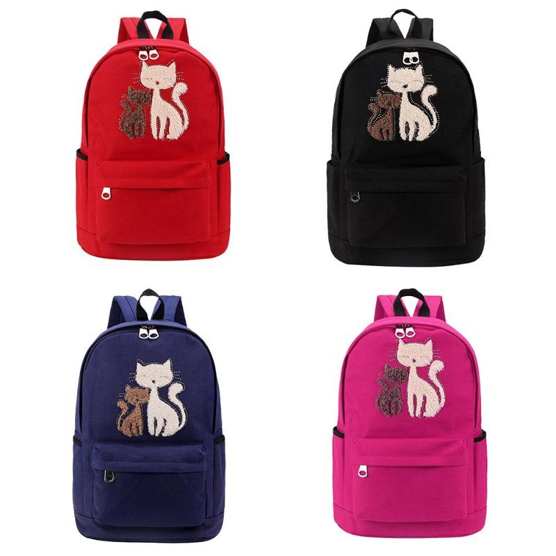 Fashion Girls Backpack Plush Rhinestone Cat School Bags Casual RucksackFashion Girls Backpack Plush Rhinestone Cat School Bags Casual Rucksack