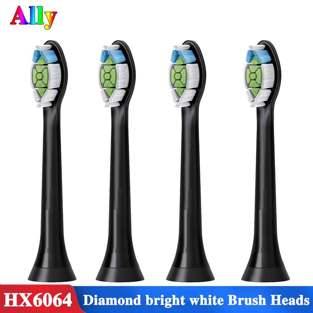4pcs For Philips Diamond Clean HX6064/33 Standard Replacement Brush Heads Black HX6730 HX9352 HX9362 HX6616 HX9954