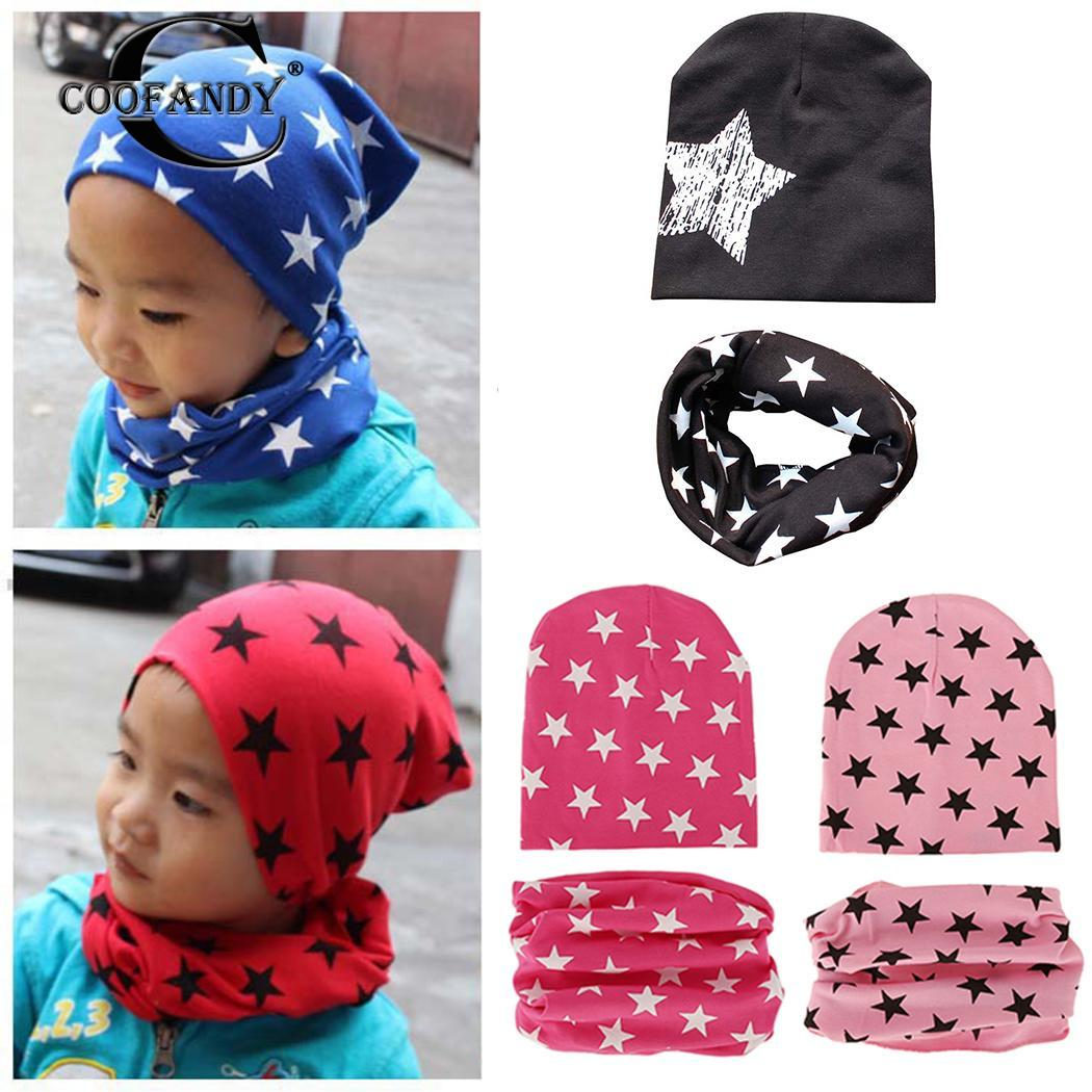 Printed Travel Unisex Hat Set Home Star Neckerchief Pieces Kids Cap Baby Five-pointed Outdoor 2 of Winter etc and Beanie