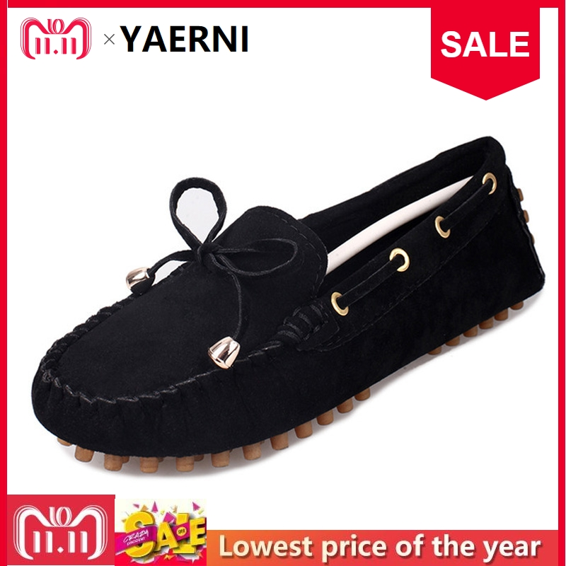 YAERNI New women casual flat shoesHot Fashion Womens Ladies Moccasin Suede Bowknot Slip On Flat Casual Shoes women flat shoes new spring female casual women shoes slip on flat leisure bowtie bowknot ladies trend fashion shoes size 35 39