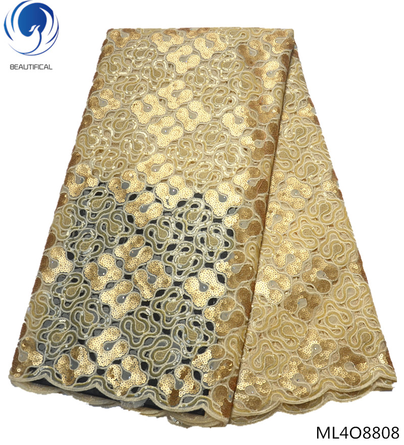 BEAUTIFICAL african lace materials gold organza lace gold lace fabric with sequins top quality styles 5 yards/piece sales ML4O88