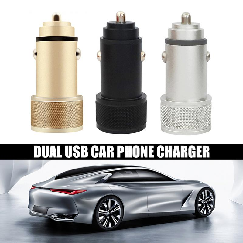 Car USB Charger Aluminum Alloy USB Ports Quick Charge 2 Port USB Fast Car Charger for Mobile Phone car universal type