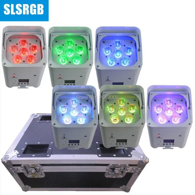 6 pièces/lot avec flightcase mariage 6*18w rgbwa uv 6in1 IR WIFI sans fil alimenté par batterie led par batterie lumières 6x18W