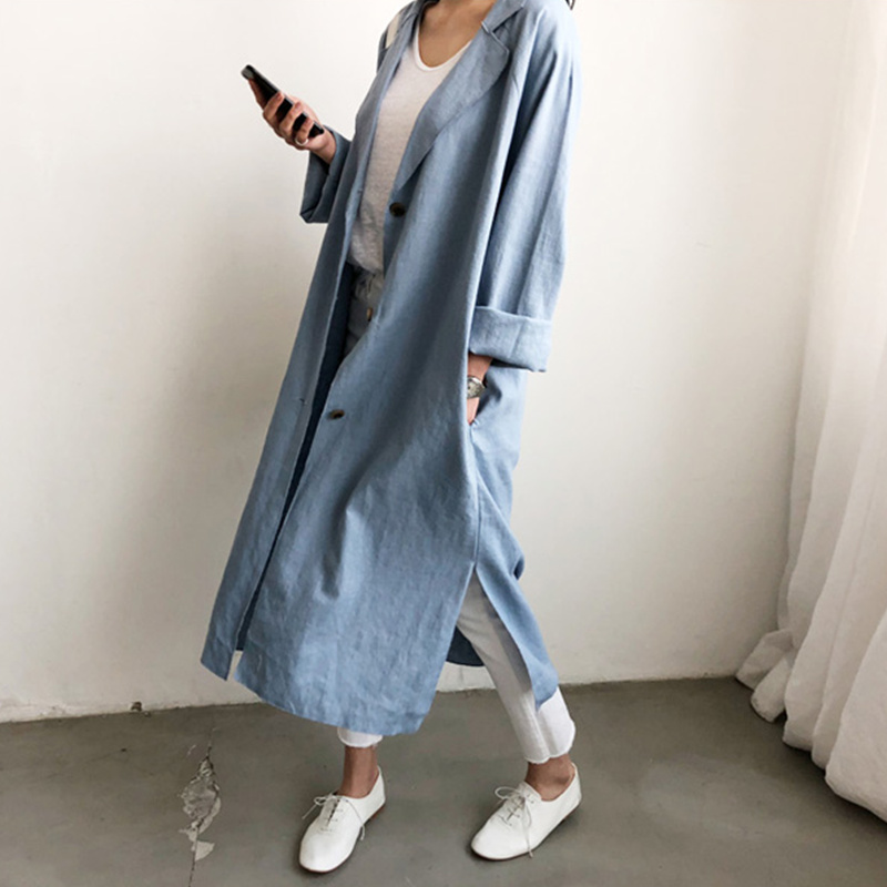 Qiukichonson Thin Spring Autumn   Trench   Coat Korean Fashion Lazy Oaf Style Women Loose Slit Pockets Tailored Collar Long Coat