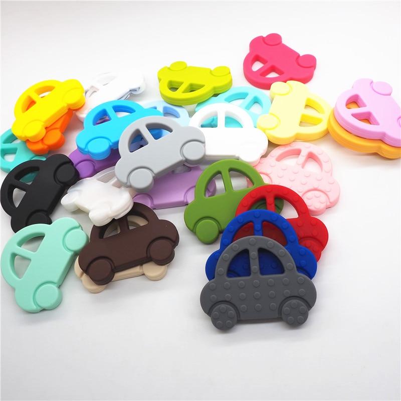 Купить с кэшбэком Chenkai 10pcs Silicone Car Teether Baby Cartoon Biscuit Oreo Cookie Teether DIY Elephant Butterfly Animal Teething Toy