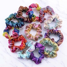 YJSFG HOUSE Women Fashion Elastic Hair Bands Shiny Scrunchie Ponytail Girl Holder Band Tie Rope Metal Rainbow