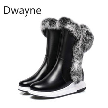 Dwayne Big Size Winter Natural Real Rabbit Fur Cow Suede Zip Hair Snow Boots Women Plus Short Lady Female Boot