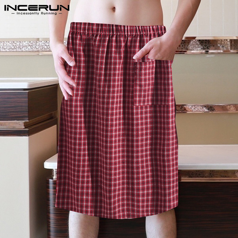 INCERUN 2020 Plaid Men Bathrobe Bath Skirt Quick-dry Homewear Elastic Waist Comfortable Shower Skirt Loose Men Beach Bath Robes