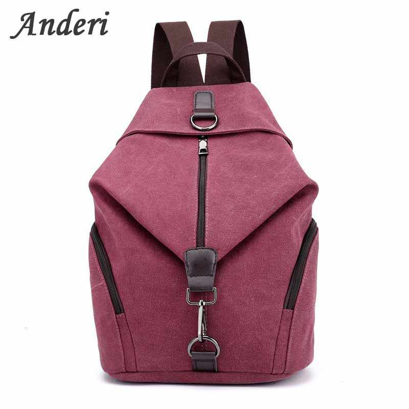 30d480a273a1 Anderi Women Canvas Backpack Preppy College Student Fabric School Bag Young  Teenage Girl Leisure Backpack Travel Bag Pink Red