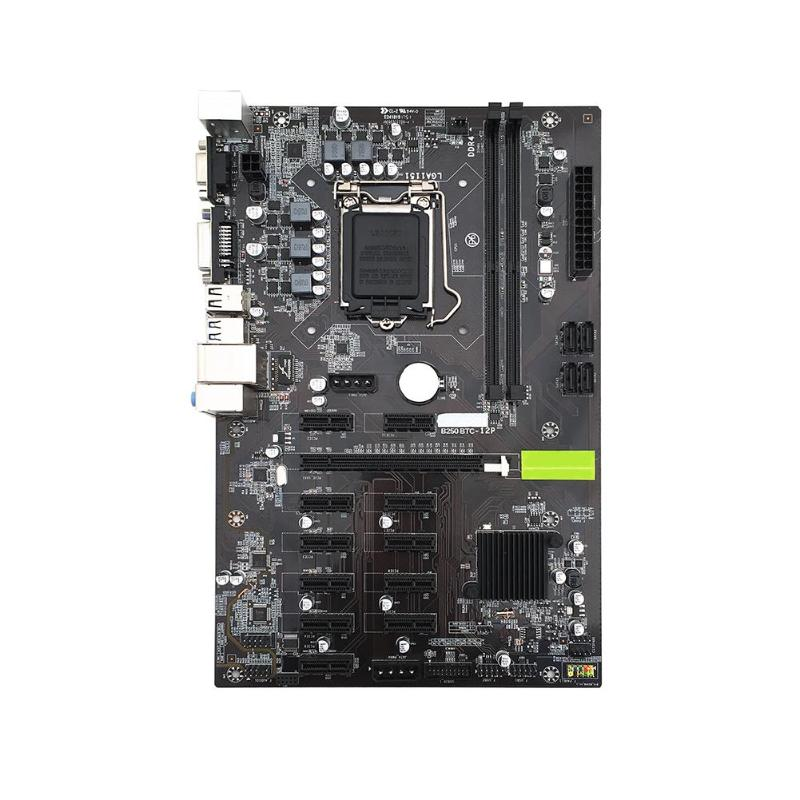 VAKIND 295*190mm B250 Motherboard 2*DDR4 Systemboard For Inter LGA1151 Socket BTC Mining Motherboard Support 12 Graphics Cards