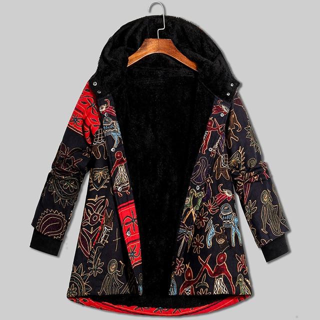 5XL Plus Size Thick Winter Women Coat Fashion Oversize Hooded Long Sleeve Fleece Lined Warm Parka Vintage Ladies Winter Jacket 3