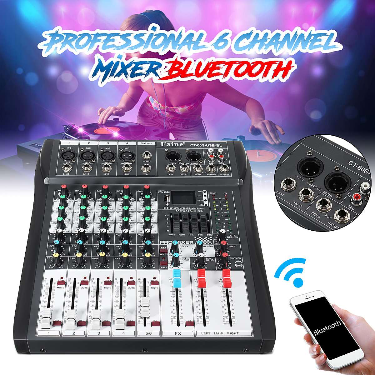 LEORY bluetooth 6 Channel DJ Mixer audio Professional Controller DJ Mezclador Console With USB LED Screen Digital Amplifier