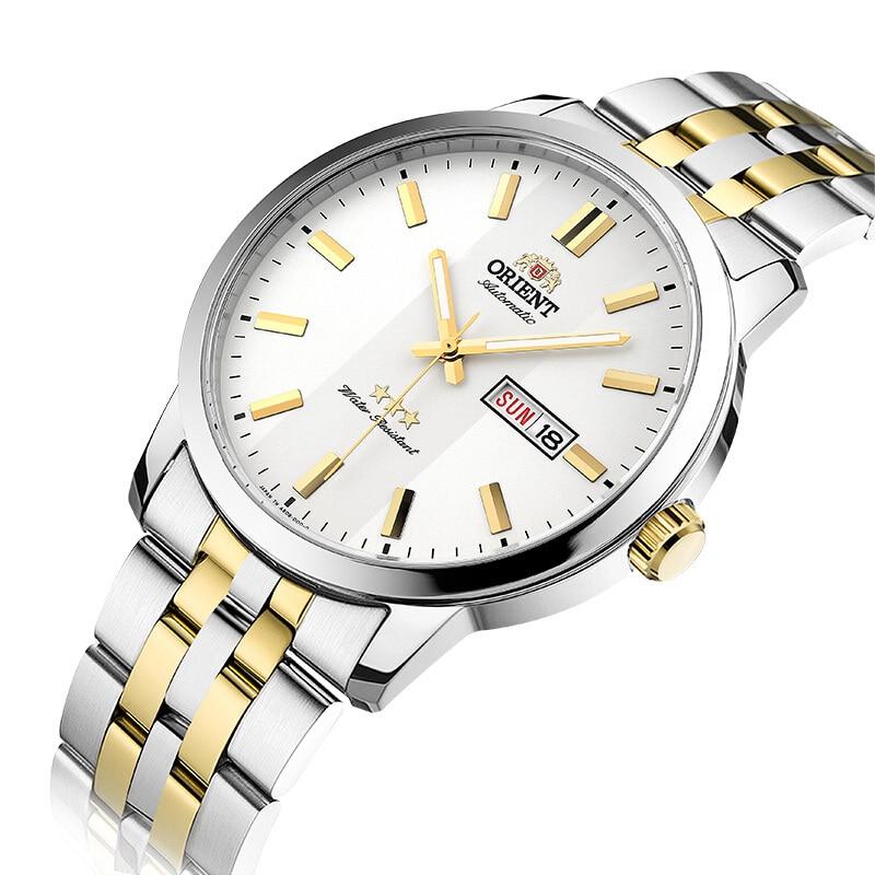 100% Original Orient 3 Star นาฬิกาอัตโนมัตินาฬิกาแฟชั่นผู้ชายนาฬิกา 5 บาร์ Luminous Hand-ใน นาฬิกาข้อมือกลไก จาก นาฬิกาข้อมือ บน   3