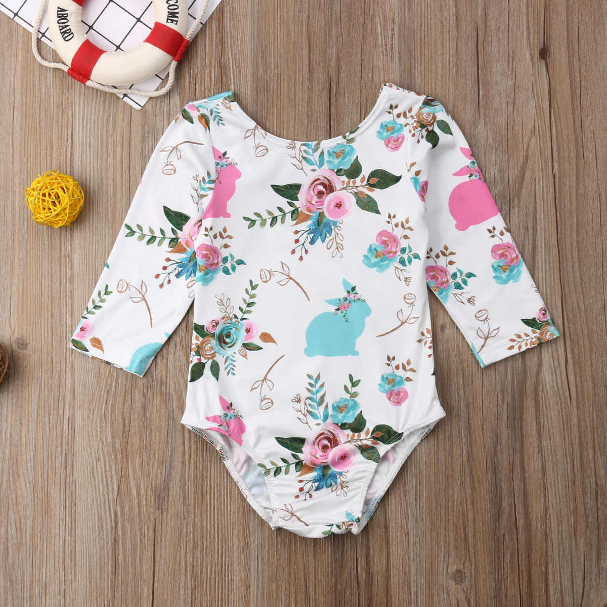 5ae77db4618 ... Cute Bunny Newborn Infant Baby Girl Rompers Pom Pom Long Sleeve Flower  Jumpsuit Playsuit For Baby ...