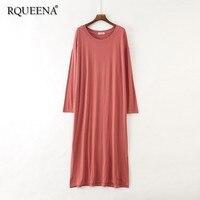 Rqueena 2019 Korean Women's Dresses Loose Tshirt Dress Summer O Neck Long Sleeve A Line Red Long T Shirt Dress For Women TD007
