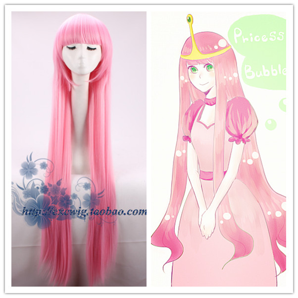 Adventure Time Princess Bubblegum Cosplay Wig Princess Gumball Pink Straight Long Wig Pink Hair Costumes