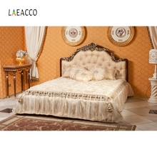 Laeacco Boudoir Interior Luxurious Bed Curtain Pillow Photography Backgrounds Customized Photographic Backdrops For Photo Studio
