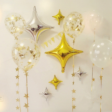 Party Balloons Decoration Set ( Transparent Balloons, Star Balloons,Glod Sequins Paper Garland) For Wedding Birthday