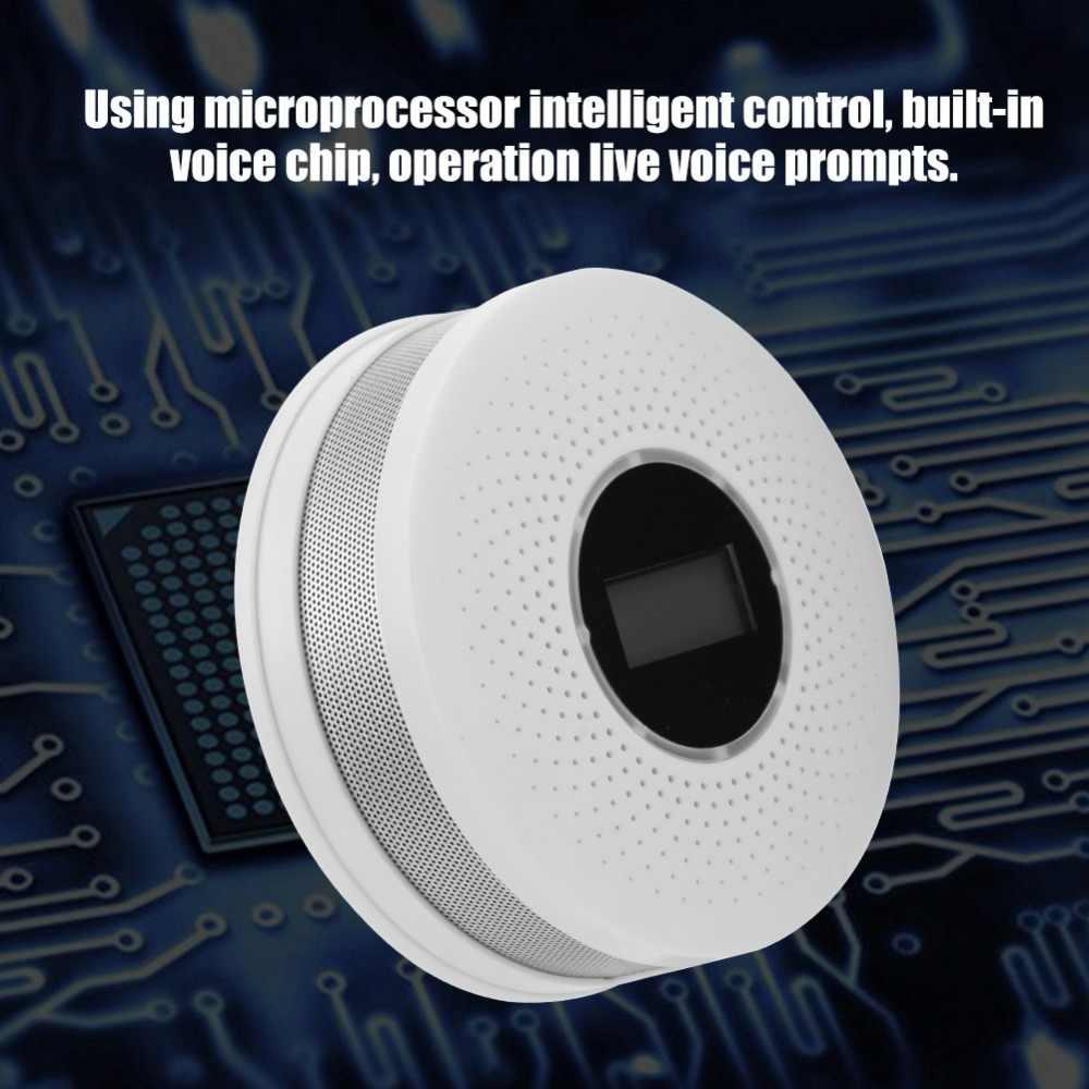 Детектор дыма живой голос светодиодный дисплей сигнализация со окисью углерода датчик утечки умный человеческая Голосовая сигнализация память ЖК-дисплей