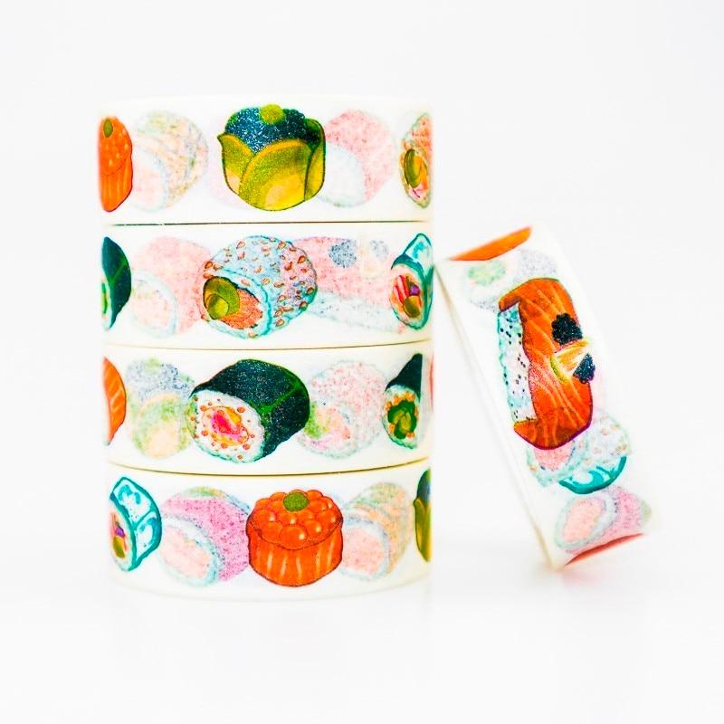 Japanese Delicious Sushi Washi Masking Tape Sticky Color Decorative Tape Set DIY Decoration Office Stationery Scrapbook 1PCS
