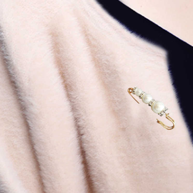 1 PC Wanita Bros Korea Berlian Imitasi Perak Emas Mutiara Kristal Pernikahan Rok Setelan Bisnis Syal Sweater Hadiah Natal