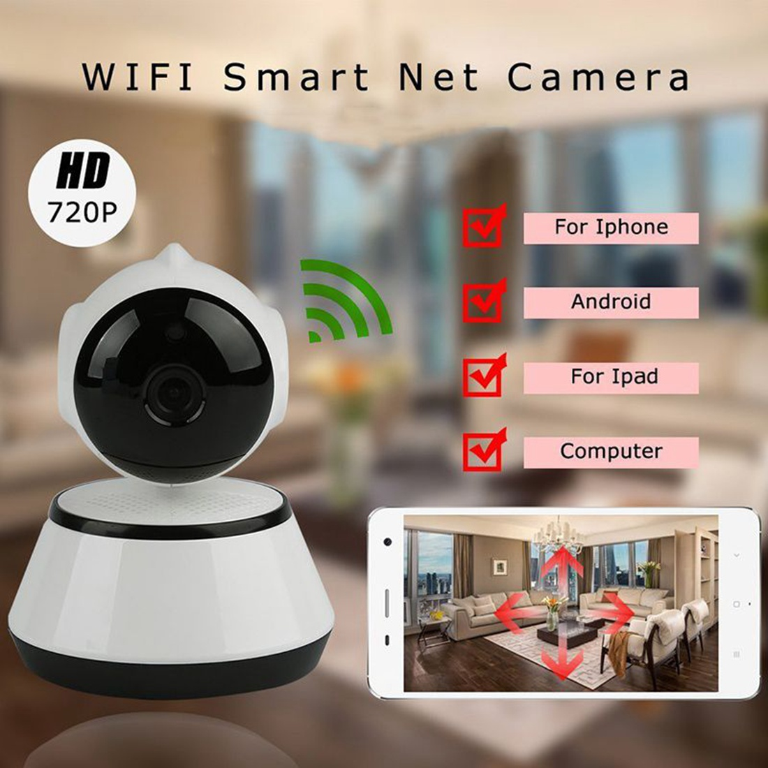 Image 2 - V380 Phone APP HD 720P Mini IP Camera Wifi Camera Wireless P2P Security Camera Night Vision IR Robot Baby Monitor Support(SD C-in Baby Monitors from Security & Protection