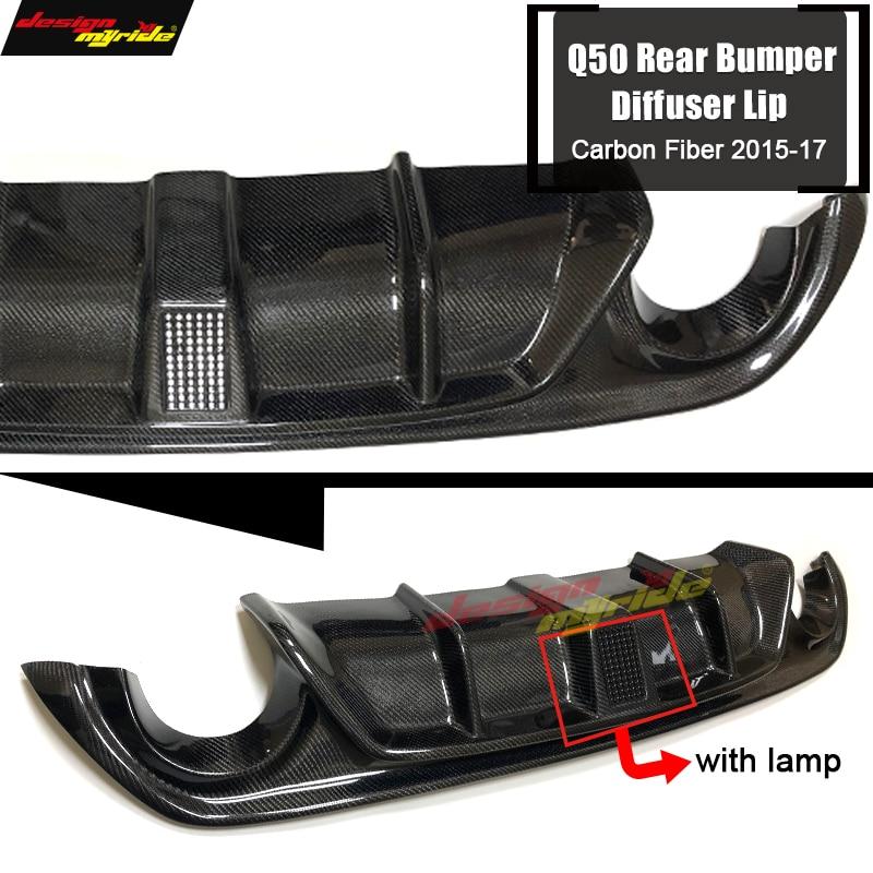 For Infiniti Q50 Carbon Fiber Add on Car Rear Bumper Diffuser lip Spoiler Q50 Q50S With