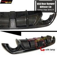 For Infiniti Q50 Carbon Fiber Add on Car Rear Bumper Diffuser lip Spoiler Q50 Q50S With lamp Rear Bumper Diffuser Lip 2015 2017