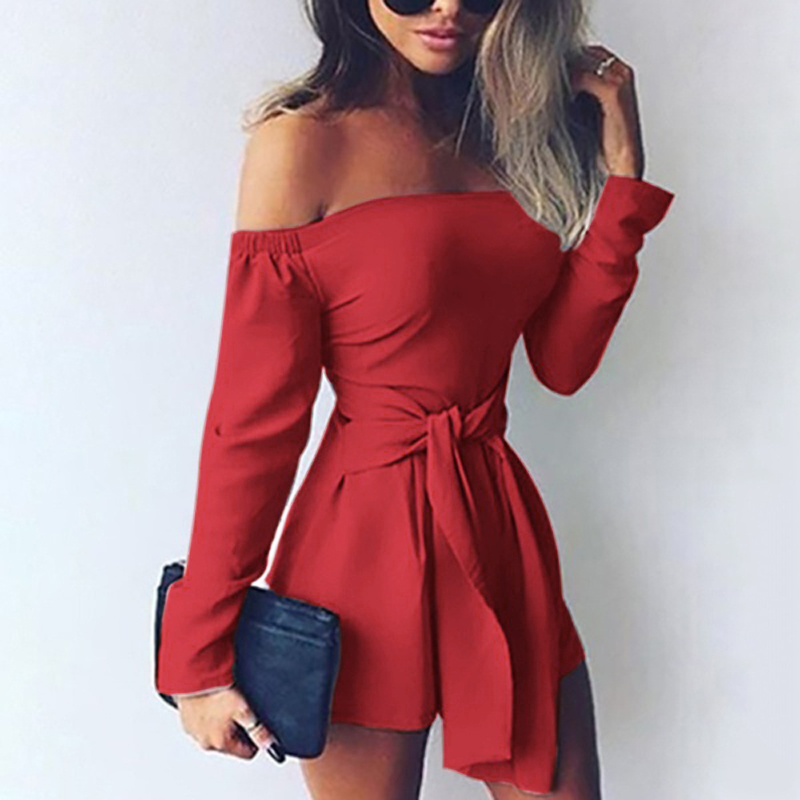 Sexy Rompers Womens Jumpsuit 2019 Summer Playsuits Off Shoulder Slash Neck Sash Casual Bodysuit Long Sleeve Plus Size Overalls