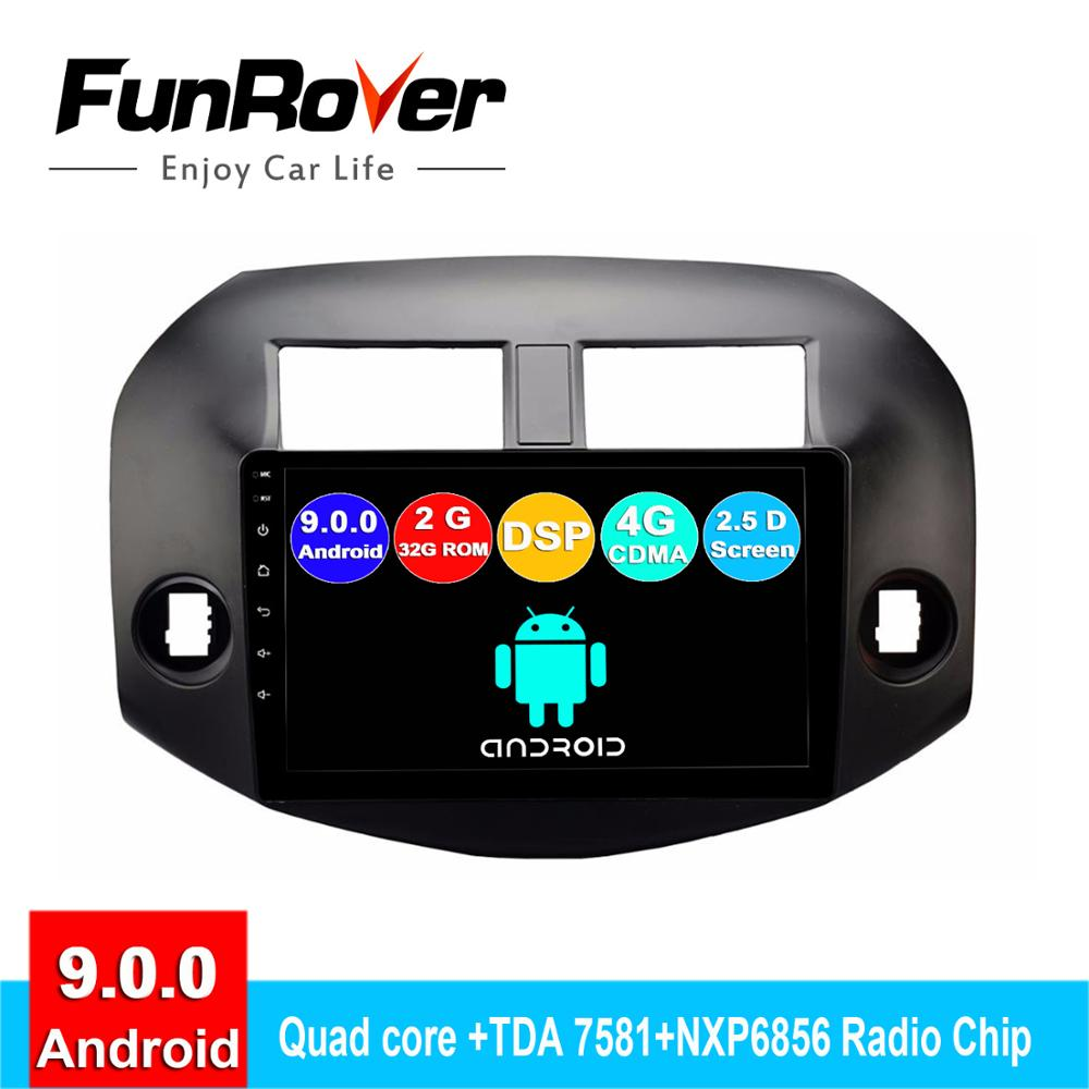 FUNROVER android 9.0 2.5D+IPS car <font><b>dvd</b></font> multimedia player For Toyota <font><b>RAV4</b></font> 2005-2013 radio gps navigation system navi stereo DSP BT image