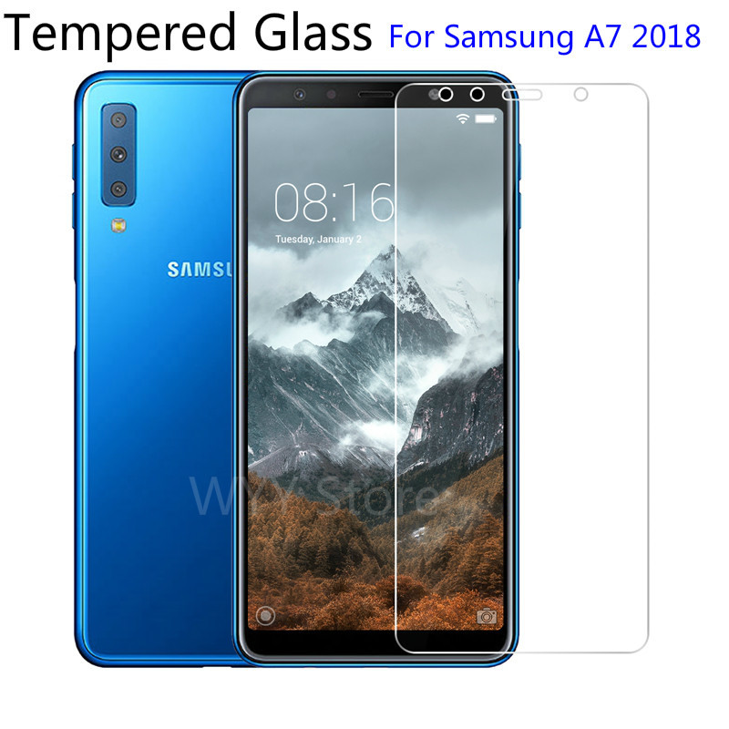 9H Tempered Glass For Samsung Galaxy A7 2018 Screen Protector protective film For Samsung Galaxy A7 2018 2.5d protection glas-in Phone Screen Protectors from Cellphones & Telecommunications