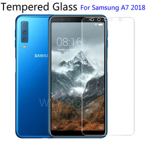 Image 1 - 9H Tempered Glass For Samsung Galaxy A7 2018 Screen Protector protective film For Samsung Galaxy A7 2018 2.5d protection glas