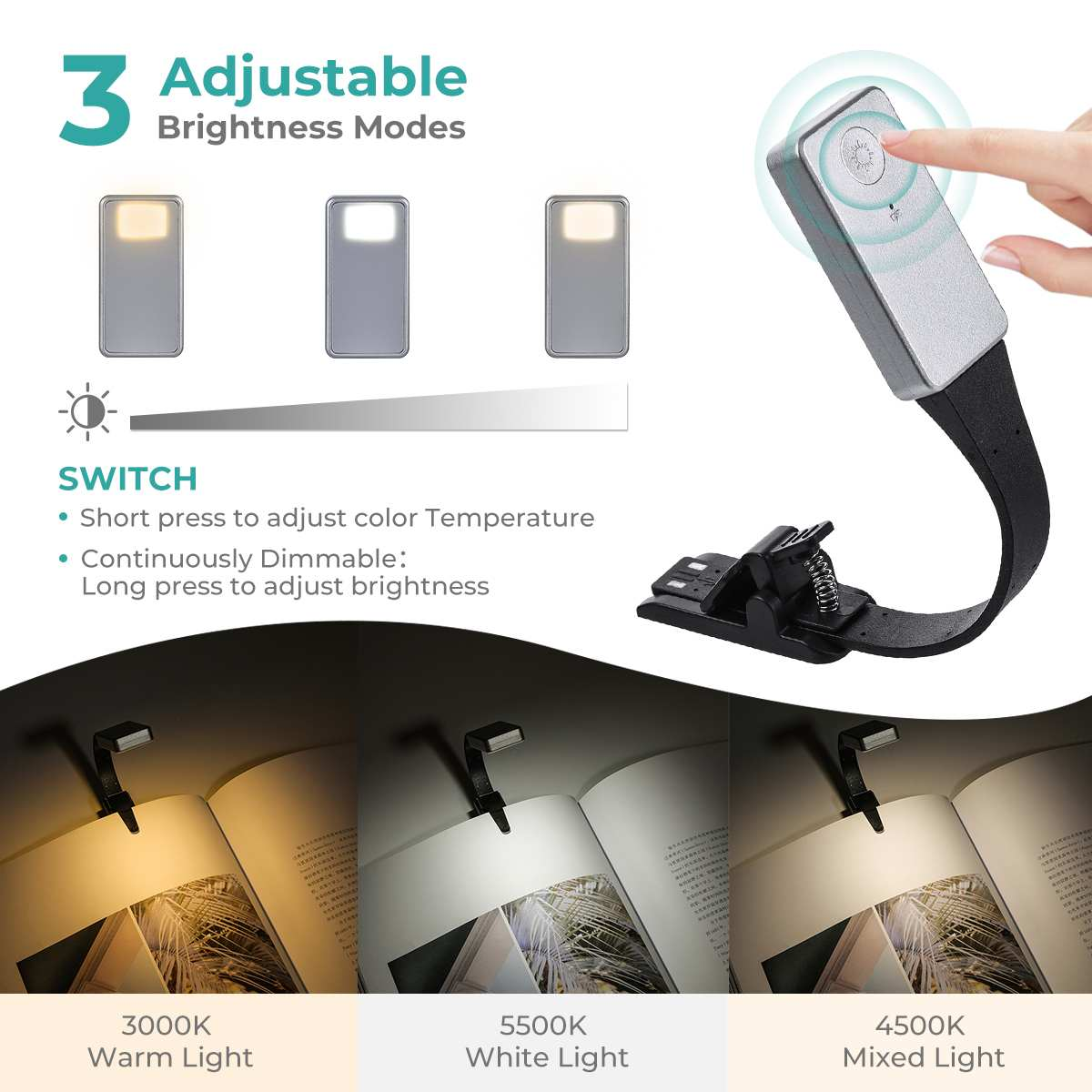 Rechargeable E-book Led Light…