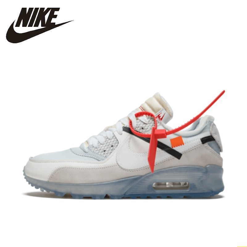 NIKE X OFF-WHITE AIR MAX 90 OW New Arrival Men Nike Shoes Air Cushion Breathable Comfortable Running Sneakers#AA7293-100