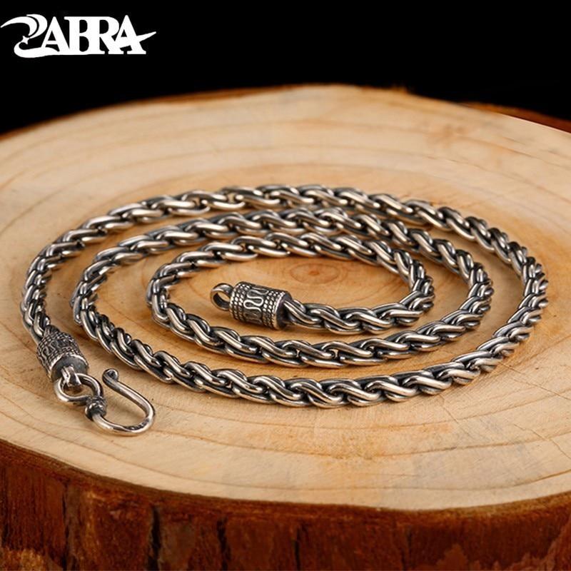 ZABRA Vintage Real 925 Sterling Silver Twist Necklace Men Width 4mm Long 55cm Chain Punk Retro