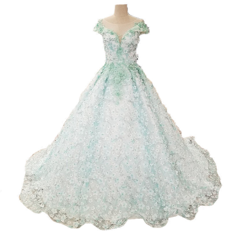 2018 New Mint Vert Dentelle Robes De Mariée SleevelessV-cou Tribunal Train De Mariage Robes Dos Nu De Bal Robes de Da