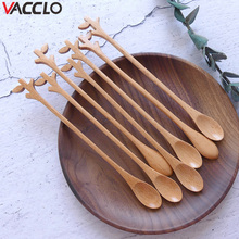 Vacclo Wooden Spoon Kitchen Tool Creative Tree Fork Handle Eucalyptus Mixing Spoon Coffee Spoon Slender Handle Wood Small Spoon grease slender filter long handle spoon for oil