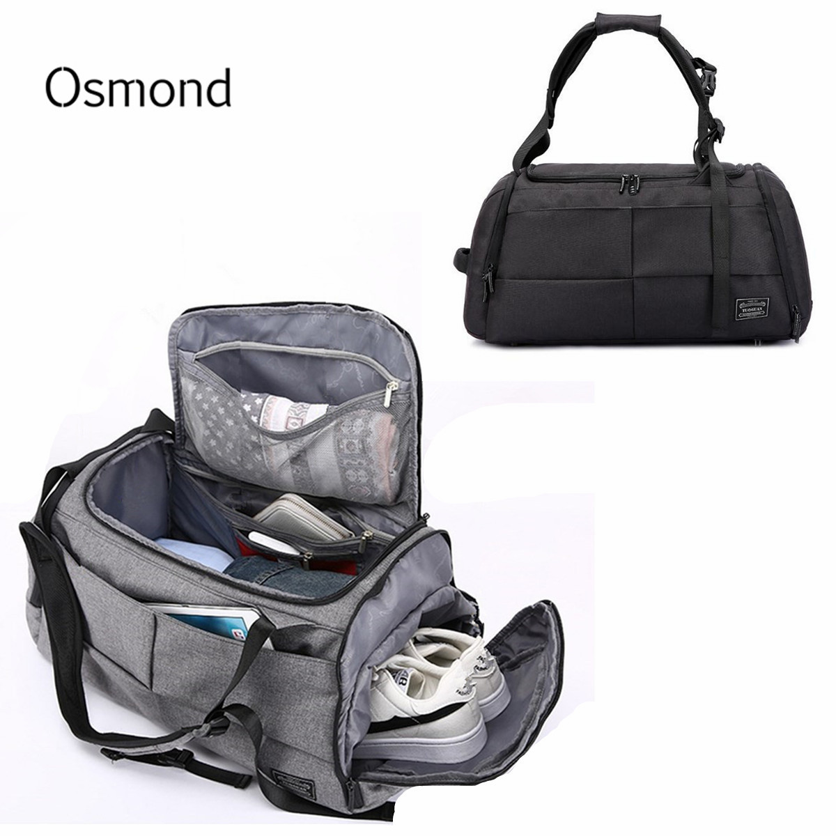 Nylon Large Capacity Travel Duffle Bag For Men Women Luggage Travel Bag Satchel Shoulder Gym Sports Handbag with Shoes Storage