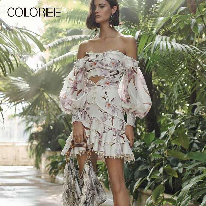 Runway Designer 2019 Spring New Floral Print Linen Two Piece Dress Vintage Boho Style Off Shoulder Strapless Dress Vestidos