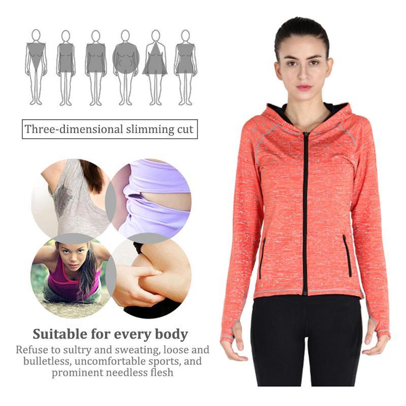 Reflective Hooded Sportswear Running Jacket Female Long Sleeve Elastic Moisture Absorbant Sweat Wicking