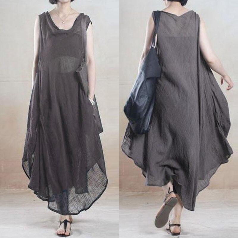 Vintage Summer Dress Women's Asymmetrical Sundress 2020 ZANZEA Linen Long Dress Female Sleeveless Tank Vestido Robe Plus Size