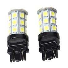 цена на 2 T20 3157 Pure White 5050 SMD 27 LED Tail Backup Turn Signal Light Bulb