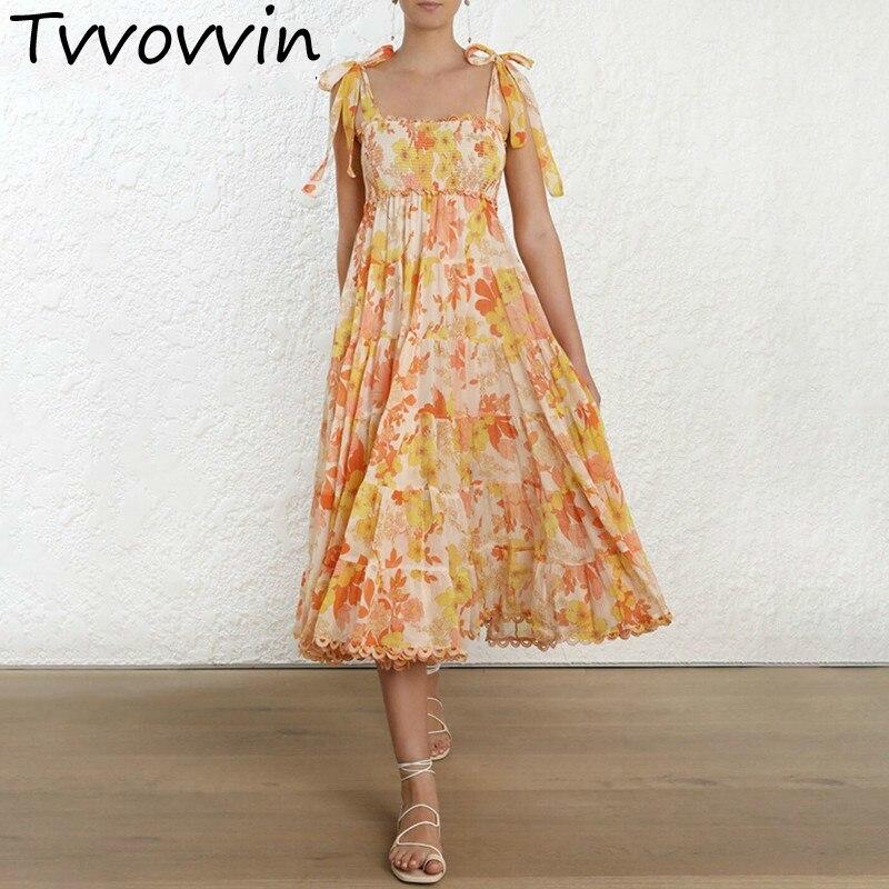 TVVOVVIN sangle taille haute imprimé robes femmes sans manches à lacets Midi robe plissée femme 2019 vêtements d'été R141
